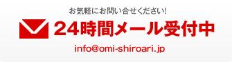 お気軽にお問い合せください!24時間メール受付中info@omi-shiroari.jp